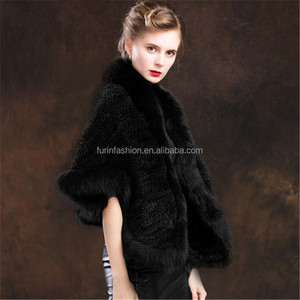 Wholesale High Quality Natural Black Real Knitted Mink Fur Cape for Fashion Women with Fox Fur Collar and Trim Butterfly Shawl