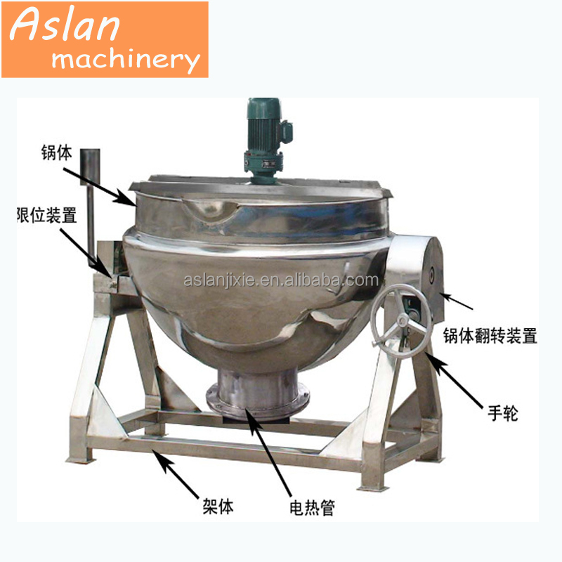 Jacketed kettle cooking stewing machine / fruit jam boiled machine / gas type 50L jacket pot machine