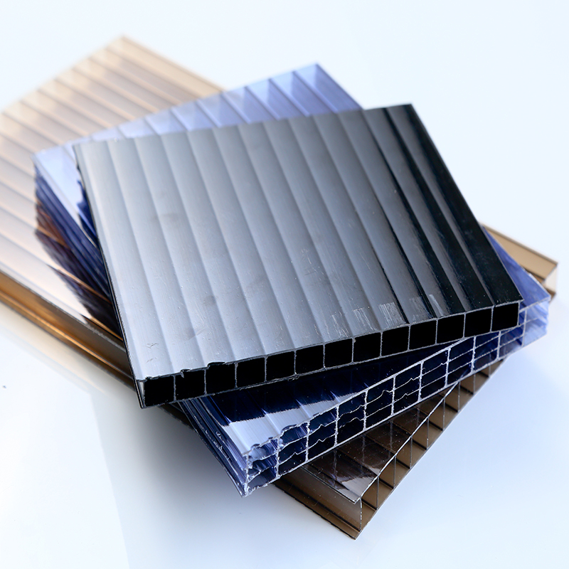 Clear blue lexan four wall pc polycarbonate hollow sheet for green house