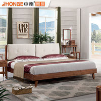 Latest Designs Elegant High Back Wood Double Bed With Box