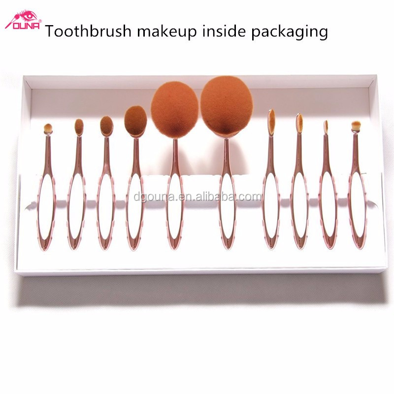 OUNA 10 pieces/set gold best inexpensive makeup brushes online shopping