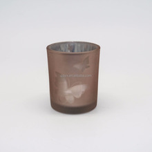 mini frosted laser cut color glass candle holder for yufeng industry