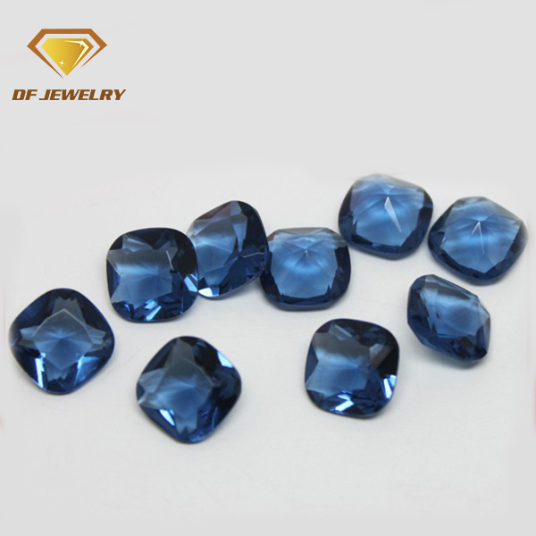 7x7mm cushion cut blue sapphire crystal gemstone