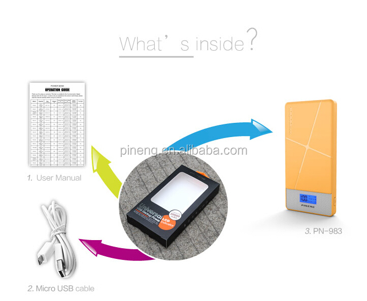 Pineng Li-polymer PN-983B Portable Mobile Power Bank For Iphone/Samsung/Ipad: 1 year grantee