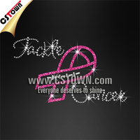 Tackle Cancer Pink Ribbon Heat Press Glitter Rhinestone Transfer Iron On Decals
