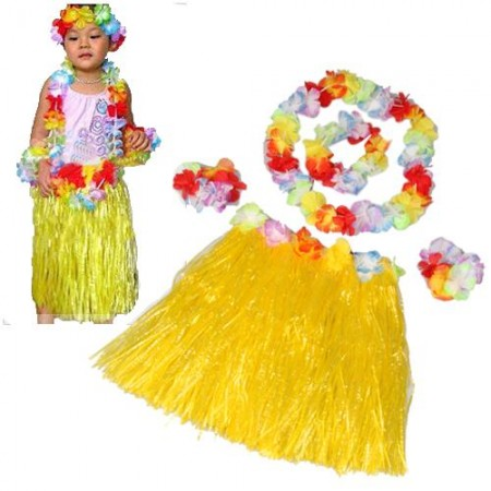 Set Hawaiian Yellow Grass Skirt Flower Luau Party
