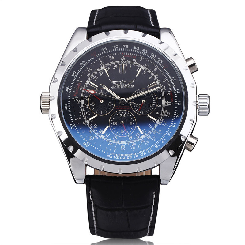 2016 Fashion Luxury Brand JARAGAR Mechanical Wristwatches Men Coated Glass Automatic Calendar Hour Week Dial Leather Strap Watch
