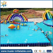 Best popular durable large inflatable water park playground slide with pool/ inflatable water park with fun pool rainbow slide