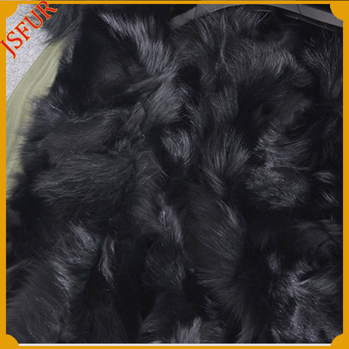 New Design Long Sleeve Fullfy Fox Fur Real Fur Parka