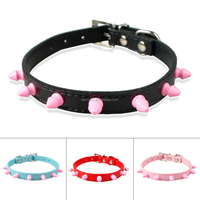 Berry Pet 1.5cm Wide Pink Rivets Studded Spike Puppy Dog Cat Collar