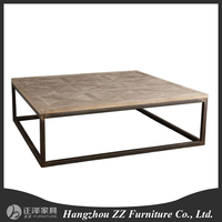 Mental frame reclaimed wood top living room coffee table
