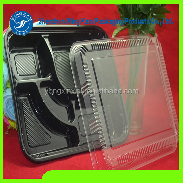 4 compartments plastic lunch box/disposable food packaging container