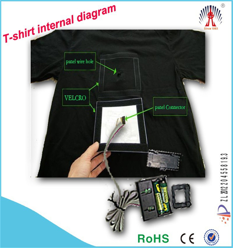 Flashing equalizer design tshirt el animated panel t-shirt