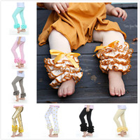 Icings style leggings,baby mustard leggings with full ruffles,wholesale girls chevron ruffle pants M5040226
