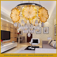 flower shape gold crystal led small chandelier lighting with crystal ball D075/9