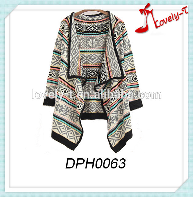 Latest design women poncho wholesale knit poncho sweater,Women Cardigan Aztec Jacquard Shawl
