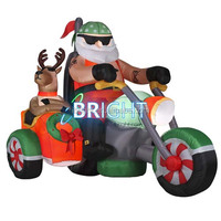 new design inflatable christmas / Christmas inflatables santa claus on motorcycle