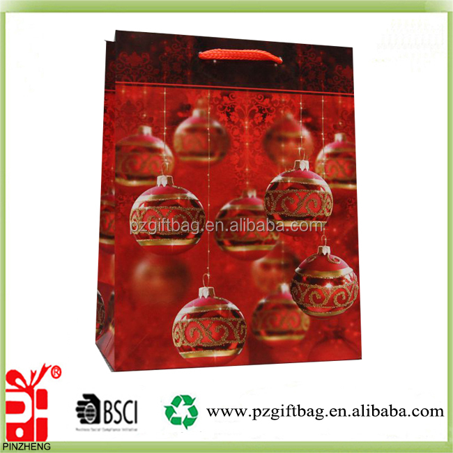 Alibaba China glaring christmas balls design decorative gift paper bags wholesale