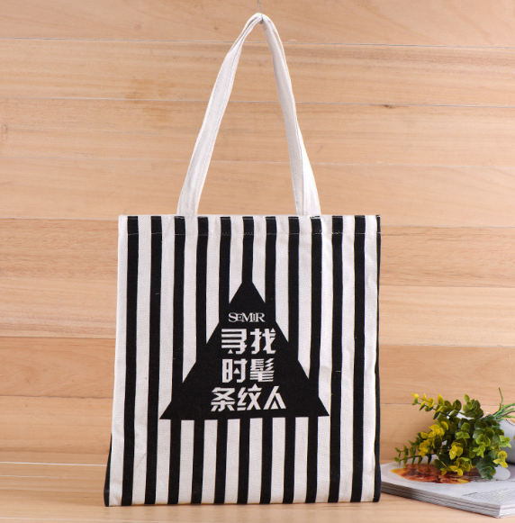Stripe Pattern Handmade 12-Ounce Pure Cotton School Trip Women Shoulder Shopping Canvas Tote Bags