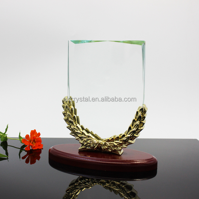 Award trophy tpye, hot fashion blank crystal glass trophy plaque with unique base
