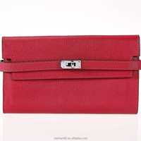 Personalized fashion soft leather red evening clutch bag women use