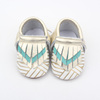 BSCI manufacture genuine leather moccasin toddler shoes OEM printing