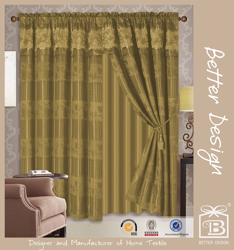 2 pcs Jacquard Valance Window Curtains With Silver Line home room in 4 Colours