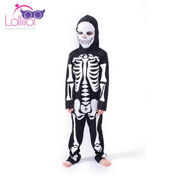 Directly factory sell kids costume halloween skeleton costumes with hood