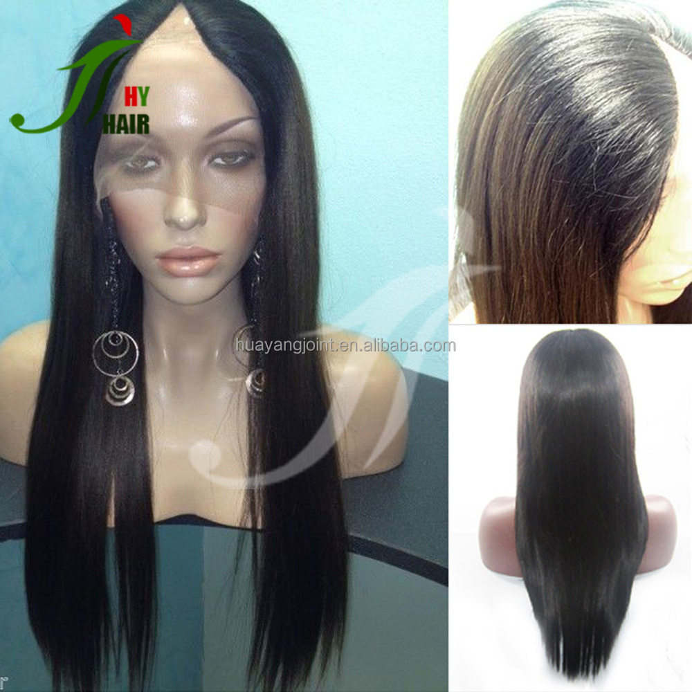 2016 Fashion Style Silky Straight U Part Wigs Unprocessed Virgin Brazilian Human Hair V Part Wig