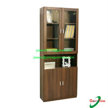 KD design wooden tall bookcases with glass door