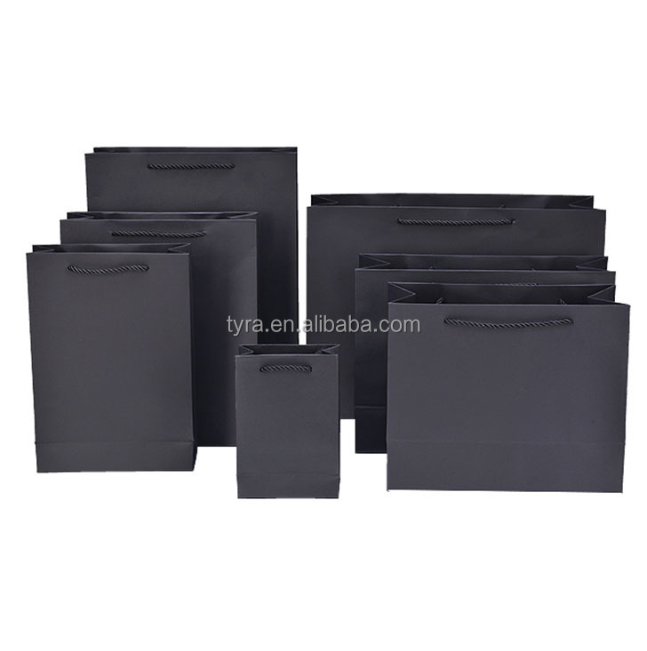 wholesale luxury black Matt glossy lamination paper shopping <strong>bag</strong>