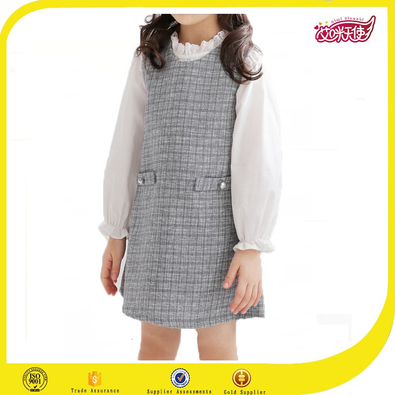 Grey plaid kid dress baby cotton frocks designs dress fashion primary school design pinafore dress