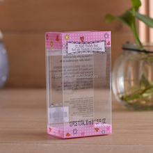 china printing company pink plastic transparent cosmetic PVC/PET/PP box stationery packaging box