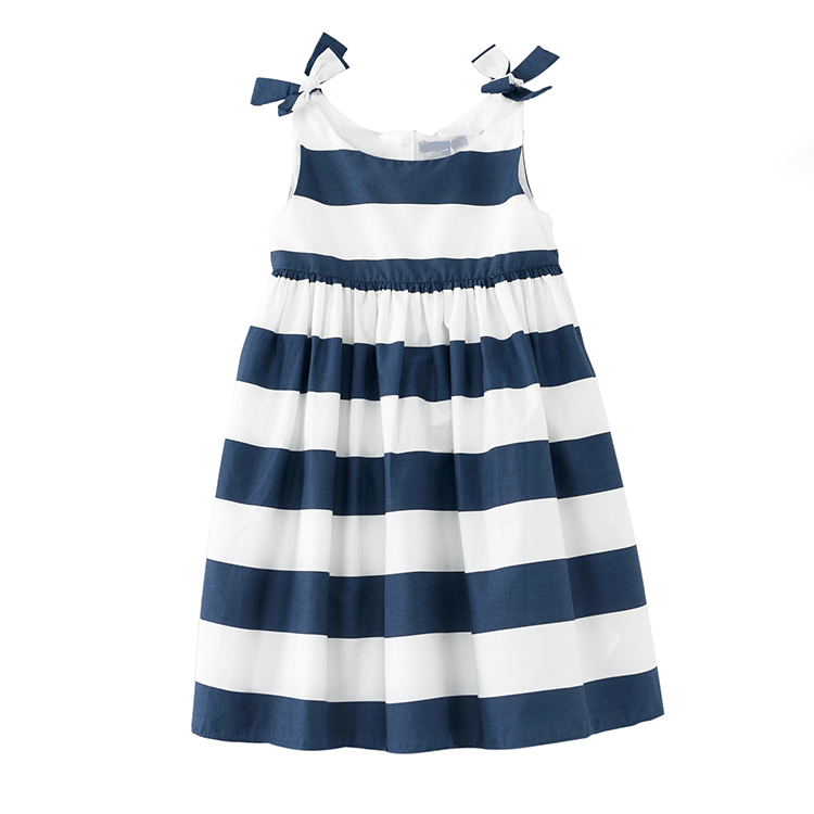 Cute Stripe Kids Party Wear Cotton Girls Dresses Child Party Dress for Girls