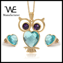 2017 Fashionable Stainless Steel 18K Gold Plated Women Opal Owl Shaped Jewelry Set