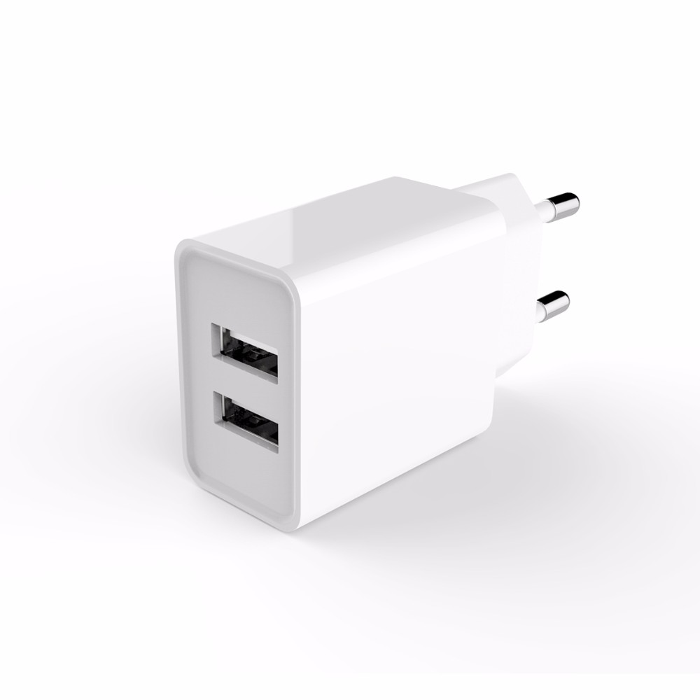 Fast charging dual usb 5V 2.4A mobile phone charger usb wall charger with European Standard