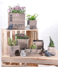 2017 Newest Wholesale Garden Decor Cement Flower Planter Wooden Box Outdoor Use