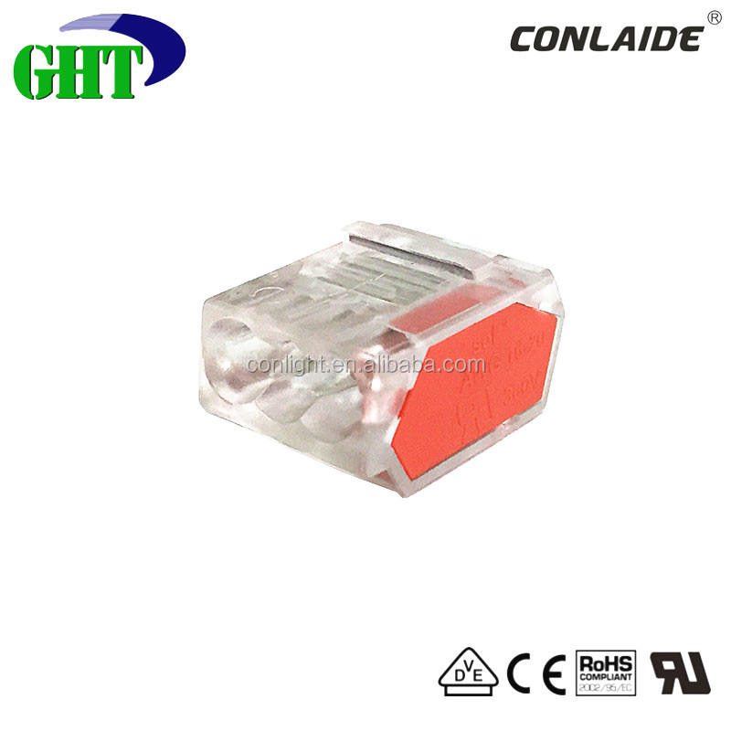 New P01 Series 3 Pin Pushwire Junction Box Connector For EN Standard 0.75-2.5mm2