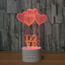 New arrival 3d led night lamp with bluetooth speaker 3D night light light light love