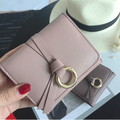 2018 New female Blue Fashion wallet female buckle PU leather wallet metal circle strap student wallet