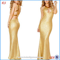 New arrival Nice Fashion Design Floor Length Mermaid Tail Gold Sequin Floor Length Dresses