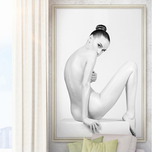 HD European Sexy Naked Beauty Oil Painting Black and White Nude Sexy Girl Canvas Prints Wall Art Pictures