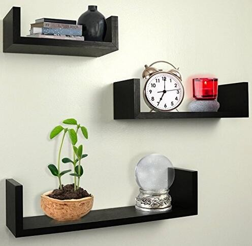 Modern Black wooden wall floating <strong>shelf</strong> -- 3pcs /set
