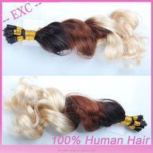 Factory wholesale keratin fusion tip 100 % remy human hair extension