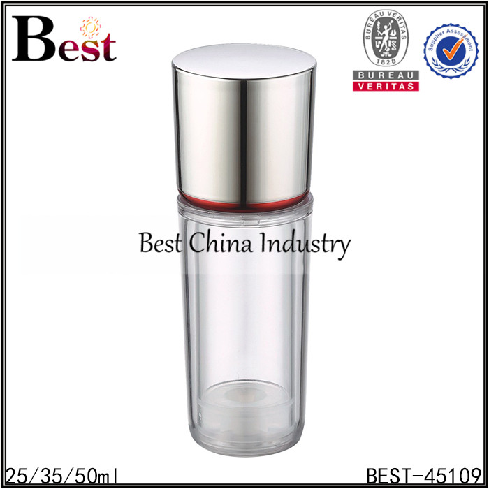 best selling useful recyclable wholesale round clear empty 35ml airless lotion pump bottles with beautiful cap