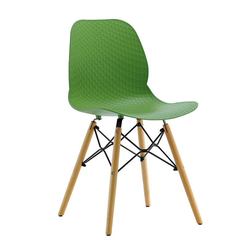 Outdoor plastic chair beech wood leg