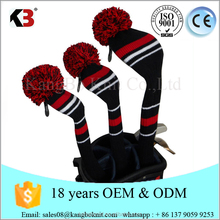 High quality Classic Knit Golf Club Knit 3pcs Headcover Set Pom Pom Sock Covers