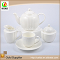2015 New decal unique design decorative induction white ceramic porcelain tea pot sets