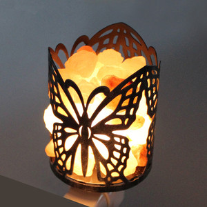 Bedroom use style butterfly shape Metal Iron art 100% Natural Crystal Rock himalayan salt lamp night light air purifying