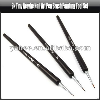 3x Tiny Acrylic Nail Art Pen Brush Painting Tool Set,YFK574A